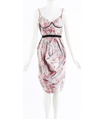 brock collection floral print silk bustier dress blue/pink/floral print sz: xs