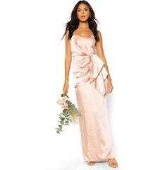 bridesmaid occasion satijnen geplooide maxi-jurk, blush
