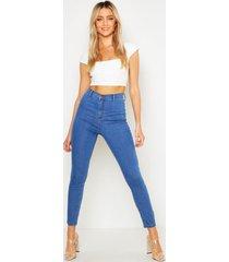 skinny fit disco spijkerbroek, middenblauw