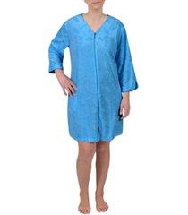 miss elaine floral-embossed short zipper robe