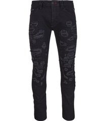 philipp plein man super straight cut jeans in black stretch denim with rips