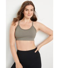 maurices womens soft stretch green open lace back seamless bralette