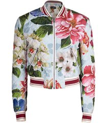 blue floral print quilted bomber jacket