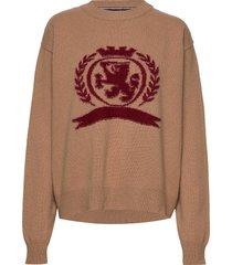 hcw crest crew neck stickad tröja brun hilfiger collection
