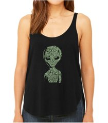 la pop art women's premium word art flowy tank top- alien