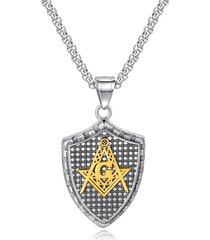 collana con ciondolo a forma di scudo geometrico in acciaio inossidabile con catena a forma di collana di gioielli per uomo