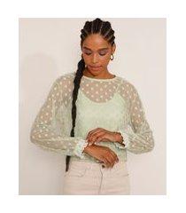 blusa de tule feminina manga bufante poá com forro decote redondo verde claro