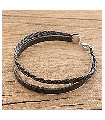 men's faux leather braided wristband bracelet, 'panther pattern' (costa rica)