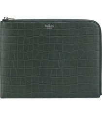 mulberry zip round crocodile embossed wallet - green