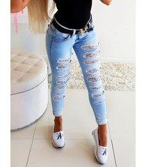bolsillo lateral recortado con encaje jeans