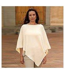 cotton poncho, 'ivory grace' (guatemala)