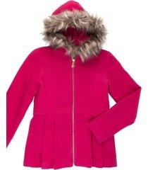 casaco lá capuz removível gingga baby e kids pink - tricae