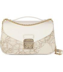 alviero martini 1a classe designer handbags, jolie coated canvas & leather shoulder bag