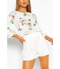 bloemenprint blouse met vleermuismouwen, wit