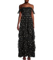 marchesa women's sequin dot off-the-shoulder maxi dress - black - size 2