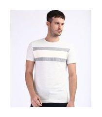 camiseta masculina slim fit com recorte manga curta gola careca branca