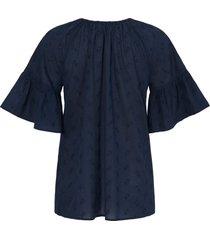 blouse van 100% katoen met 3/4-mouwen van emilia lay blauw