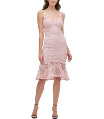 guess flounce-hem lace dress