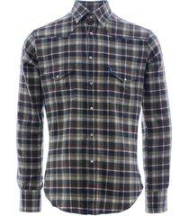c17 - cedixsept jeans antonie western shirt   green check   c17wst-12