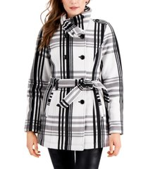 bcx juniors' plaid double-breasted microfleece belted coat