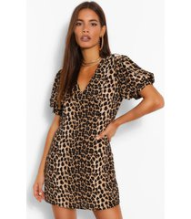 leopard print plunge puff sleeve shift dress, brown