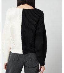 self-portrait women's contrast knit cardigan - multi - uk 12