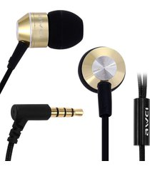 audífonos bluetooth, awei k90i auricular con estilo en el oído con micrófono 3.5mm auricular enchufe (oro)