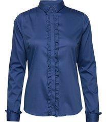 tilda flounce shirt långärmad skjorta blå mos mosh