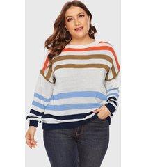 plus tamaño multicolor raya azul redondo cuello jumper