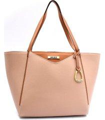bolsa sacola maria milão shopper bag charm nude/caramelo