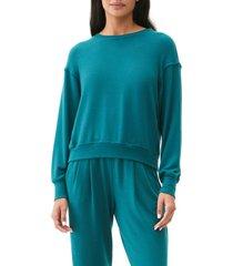 women's michael starts crewneck pullover top, size medium - blue