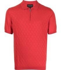 emporio armani diamond knit polo shirt - red