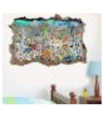 adesivo buraco na parede bob esponja fenda do biquíni - gi 100x155cm