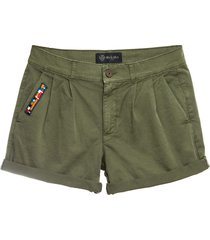 cotton twill green shorts for woman