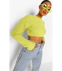 stevige gebreide korte trui met duimgat, bright green