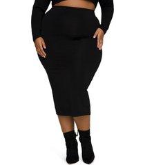 plus size women's good american knit midi skirt, size 5 - black