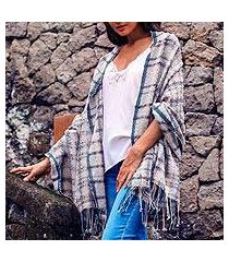 cotton shawl, 'sky plaid' (indonesia)