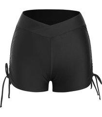surplice-waist cinched ruched swim boyshorts