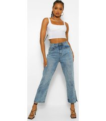 acid wash split hem ankle mom jeans, mid blue