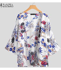 zanzea verano de las mujeres floral de la playa larga floja remata la blusa kimono cardigan más el tamaño -blanco