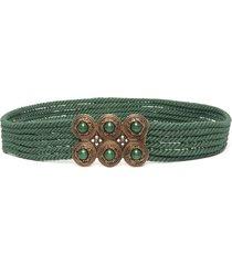 etro stone-embellished rope-detail belt - green