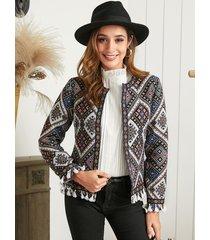 chaqueta de cinta geométrica borla multicolor yoins