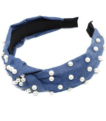natasha couture imitation pearl top knot headband