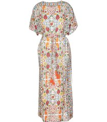 tory burch white long kaftan with multicolored fantasy print