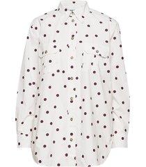 printed cotton poplin overhemd met lange mouwen ganni