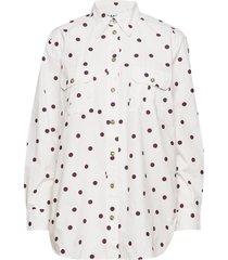 printed cotton poplin overhemd met lange mouwen wit ganni