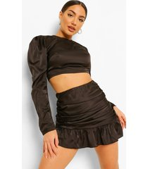 satijnen blouse en geplooid mini rokje met franjes set, zwart