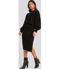na-kd rib knitted skirt - black