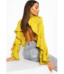 blouse met hoge hals en franjes, chartreuse