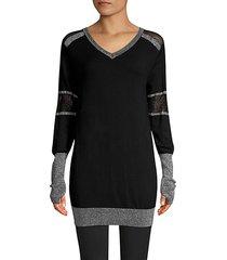 spirit mesh-paneled long-line sweater